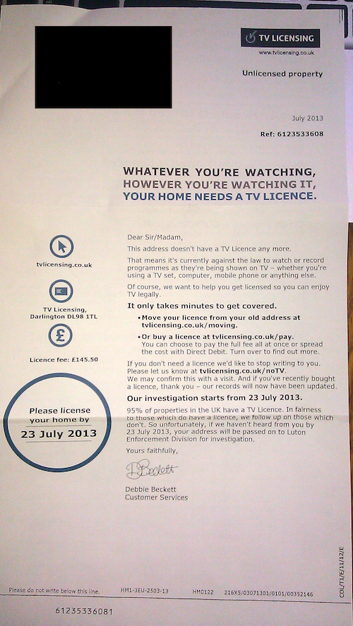 Letter from TV Licensing