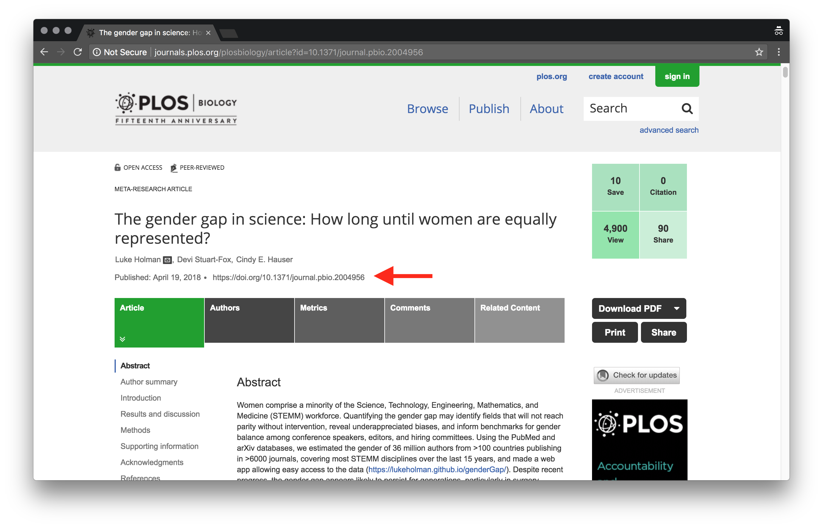 Article page on PLOS website.