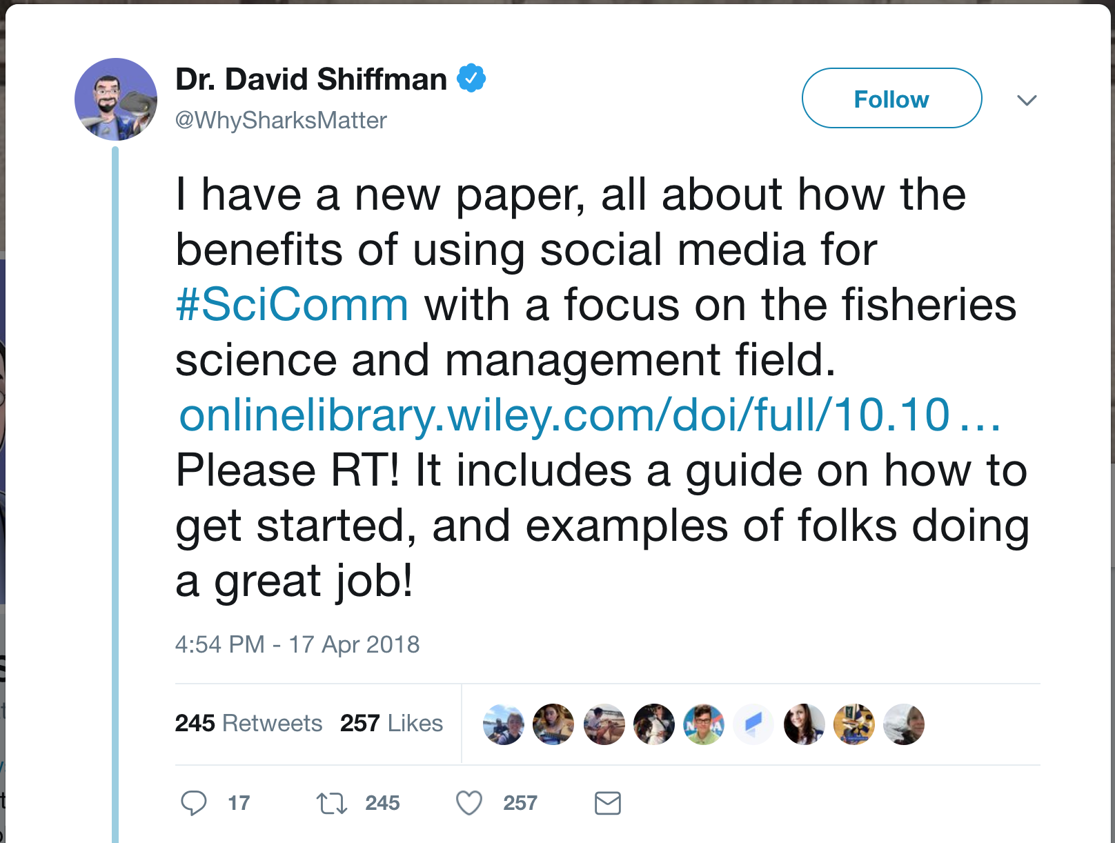 Tweet by David Shiffman