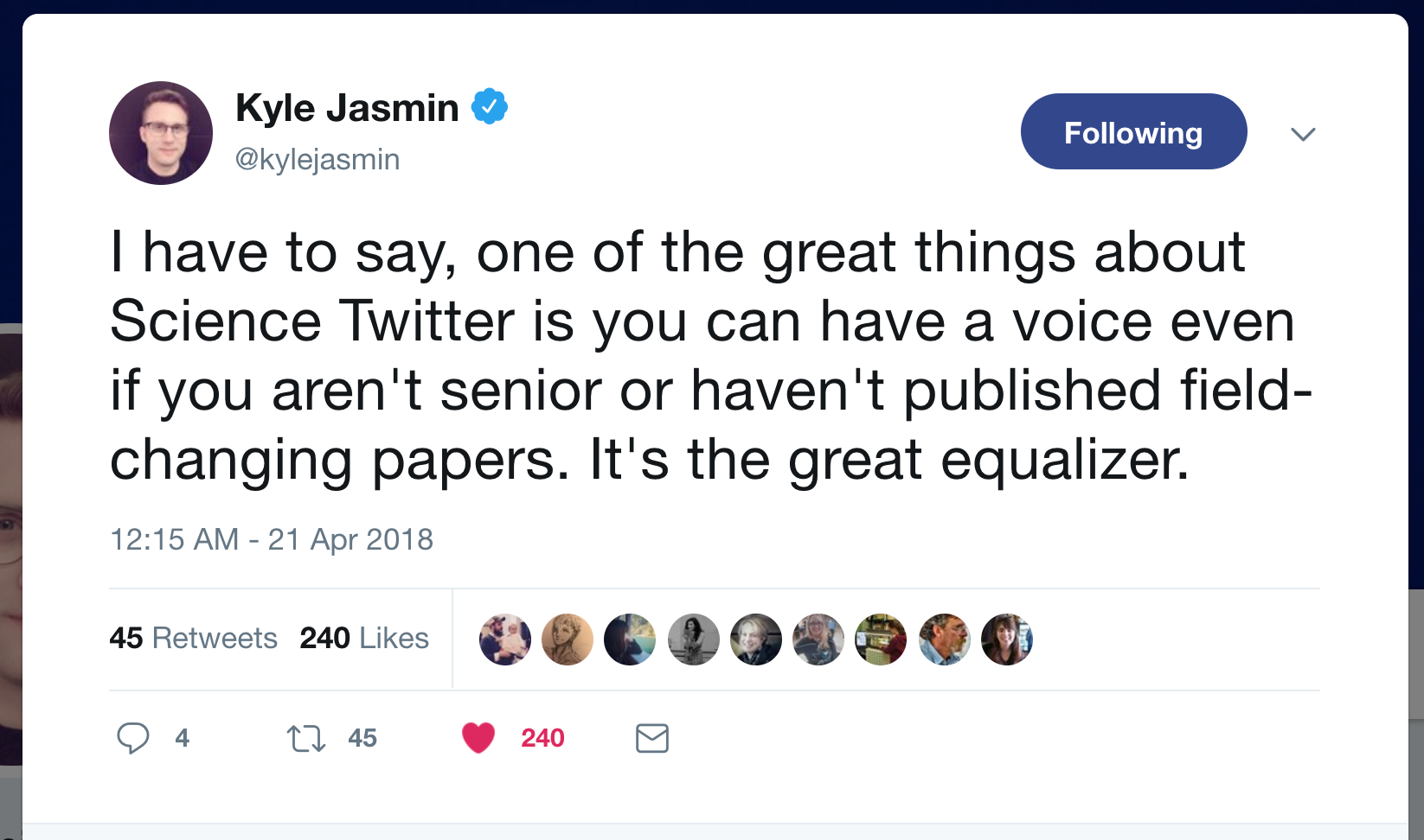 Tweet by Kyle Jasmin