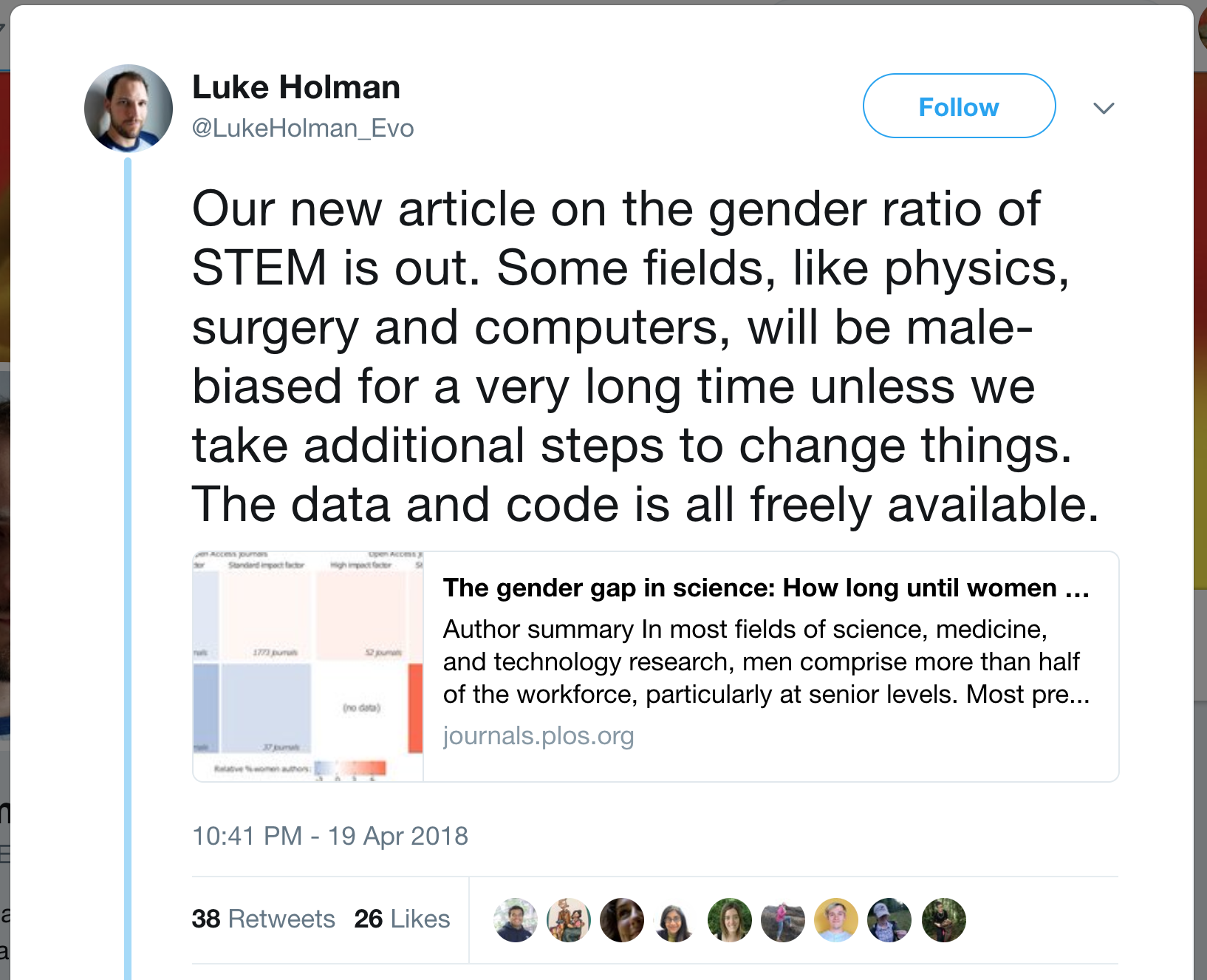 Tweet by Luke Holman